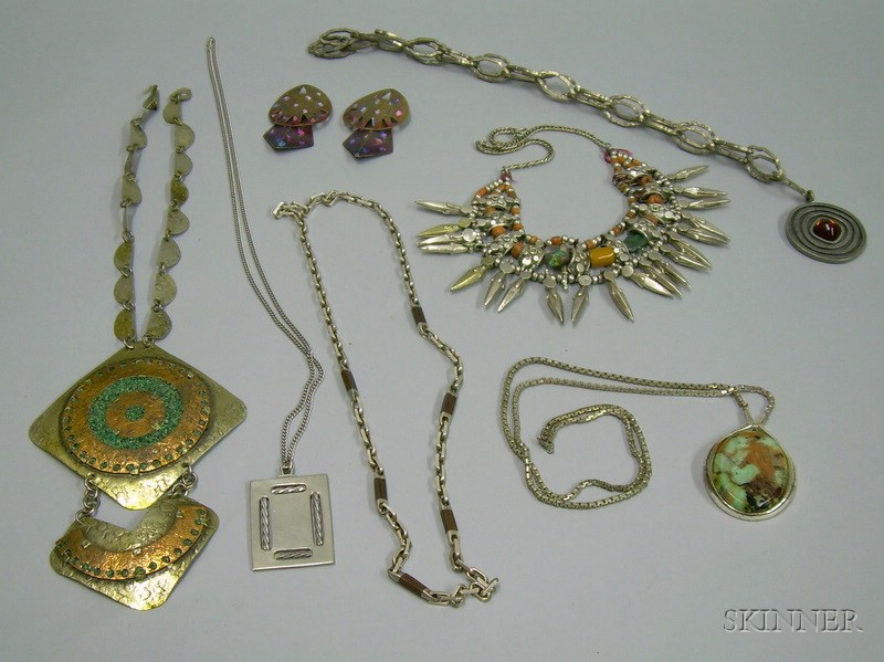 Grosse Sterling Silver, Two Pewter, and Three Other Pendant Necklaces and a Pair of Earrings.