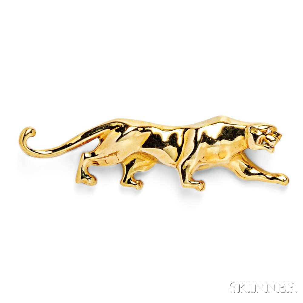 18kt Gold Panther Brooch