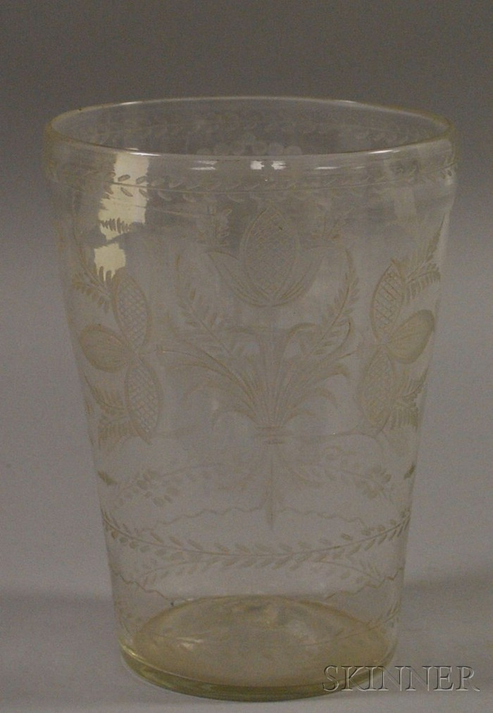 Colorless Etched Armorial Decorated Blown Flip Glass