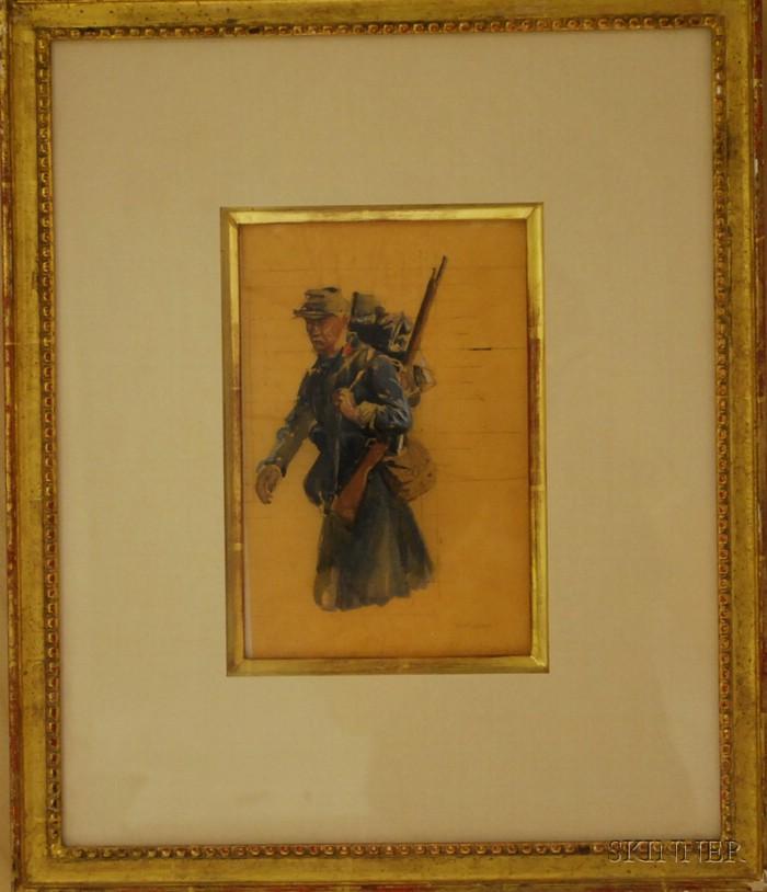 Charles Constantine Hoffbauer  (American, 1875-1957)      Portrait Study of a Soldier.
