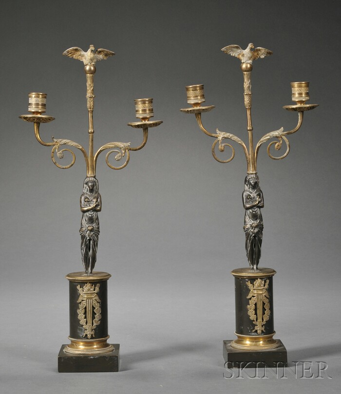 Pair of Neoclassical Gilt-brass and Patinated Two-light Candelabra