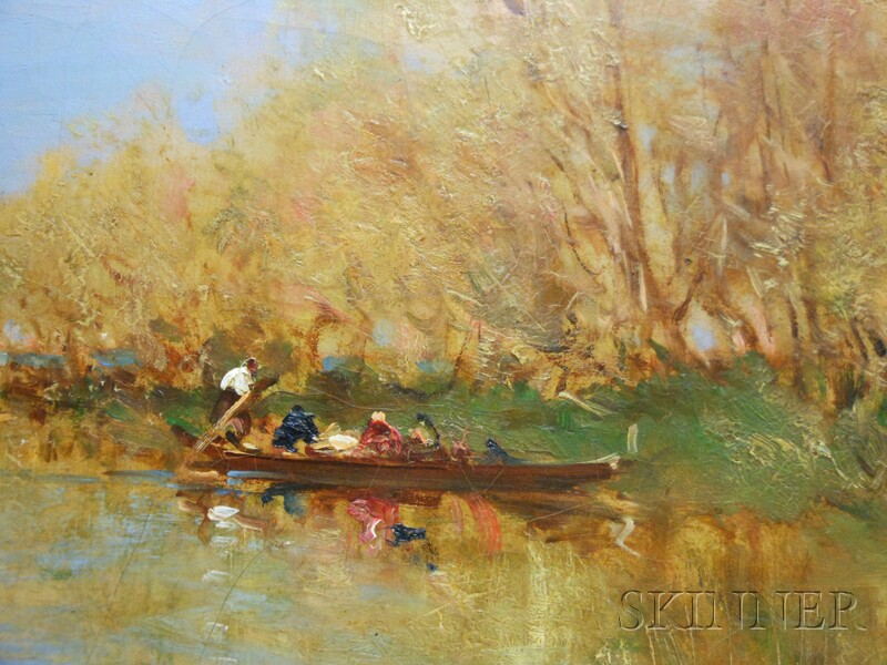 Félix François Georges Philibert Ziem (French, 1821-1911)      Gondolas on a Lagoon in Autumn