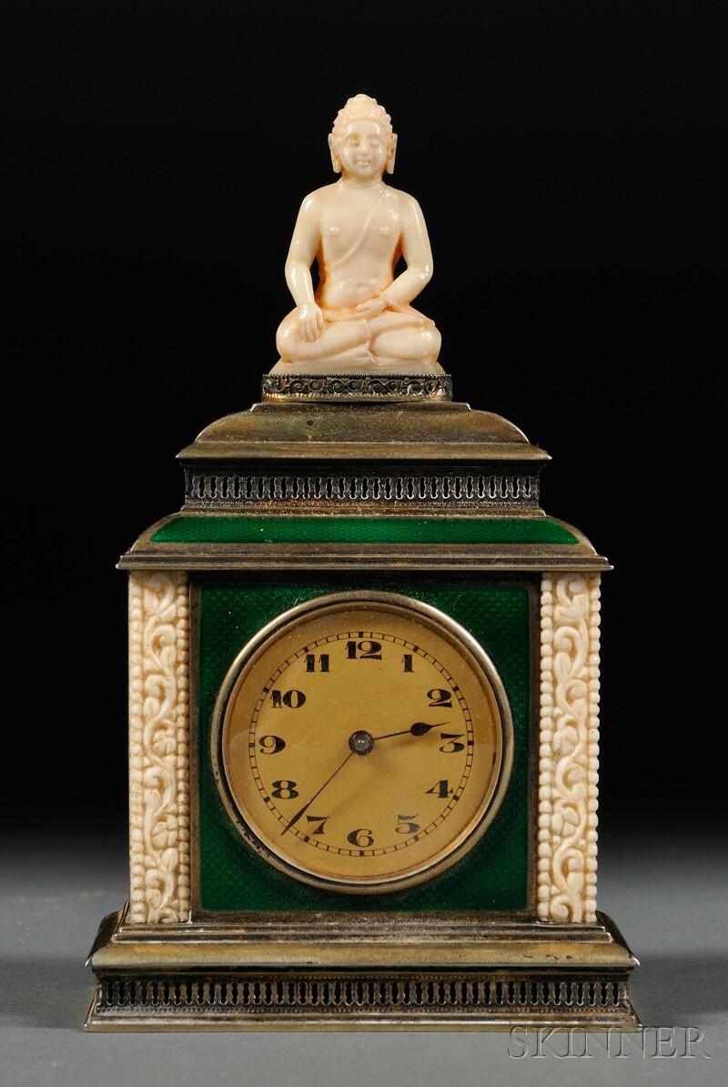 Enamel and Ivory Travel Clock