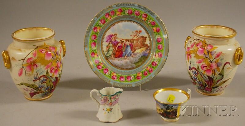 Five Pieces of Assorted Decorated Ceramics
