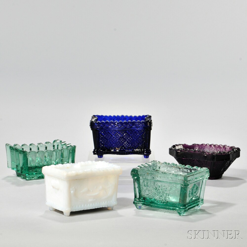 Five Pressed Glass Open Salts