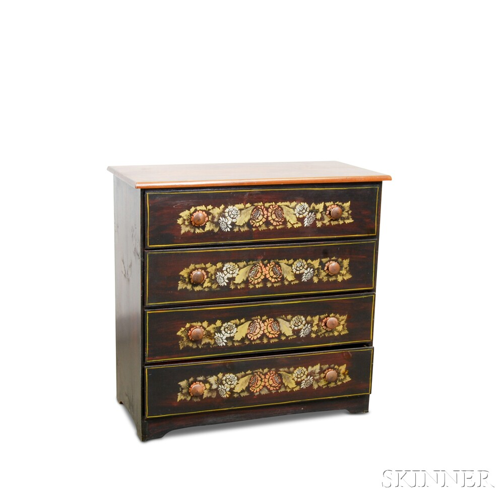 Paint-decorated and Stenciled Chest of Drawers
