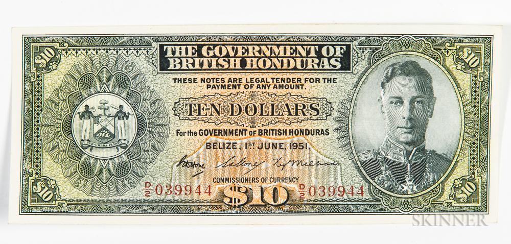 1951 British Honduras $10 Note, Pick 27c