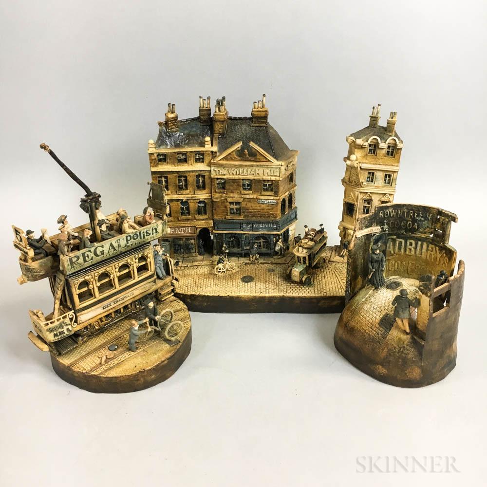 Three Charles D. Forster Ceramic Victorian City Scenes