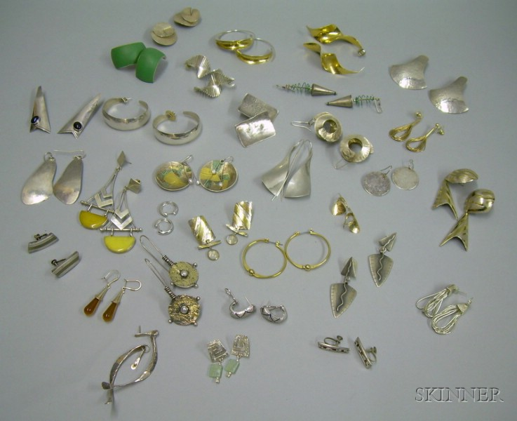 Approximately Thirty Pairs of Mostly Sterling Silver Contemporary Artist Designed Earrings.
