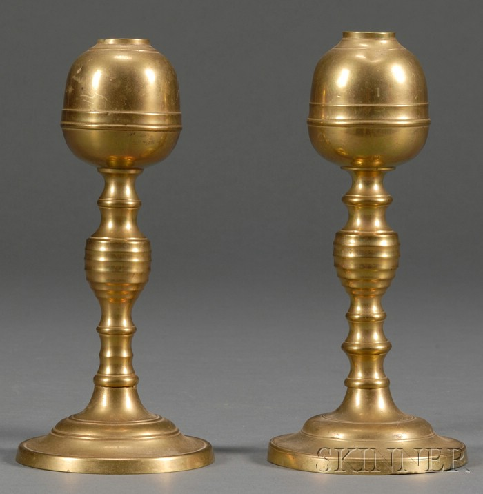 Near Pair of Brass Whale Oil Lamps with Acorn-form Fonts