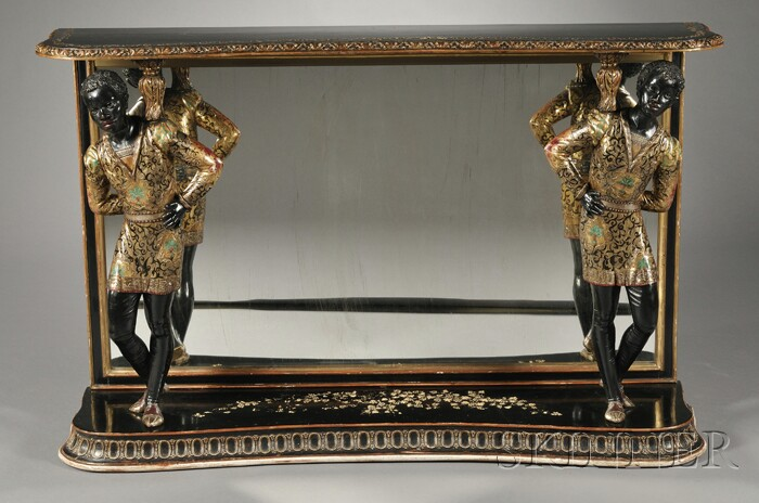 Ebonized, Parcel-gilt, and Polychrome Console Table with Blackamoor Figures