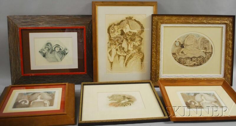 Twelve Framed Carol Lummus Etchings.