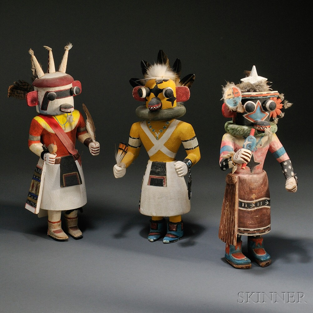 Three Hopi Polychrome Carved Wood Kachina