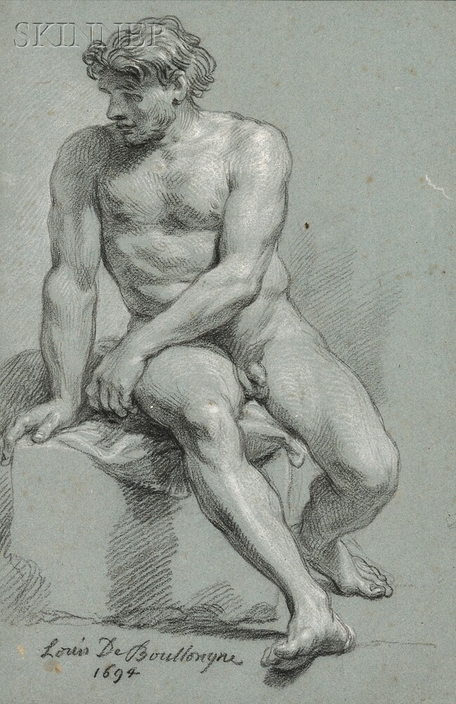 Louis Boullogne the Younger (French, 1654-1733)      Seated Male Nude Twisting to His Right