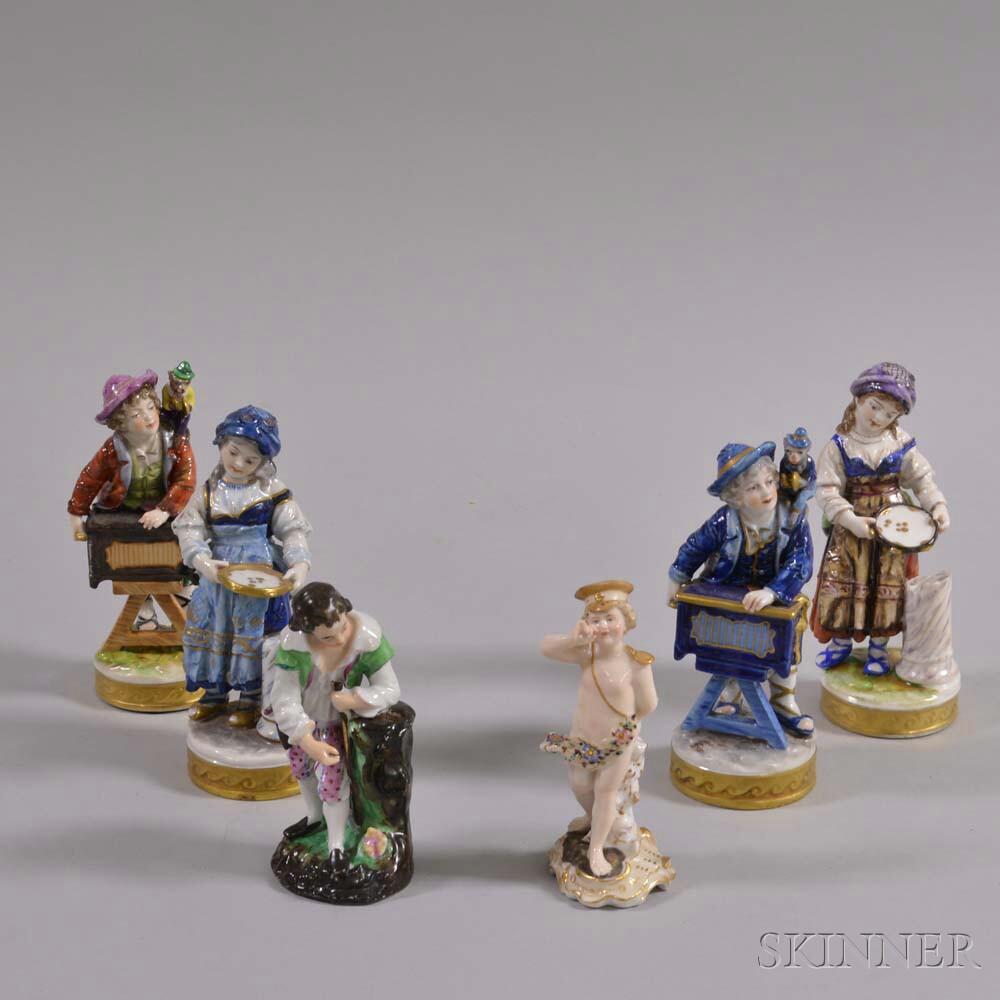 Six Continental Porcelain Figures
