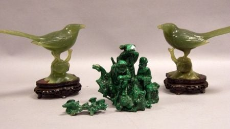 Pair of Chinese Carved Jade Birds and a Chinese Carved Malachite Figural Group.