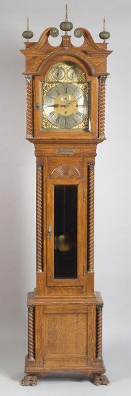Chippendale-style Oak Long Case Clock