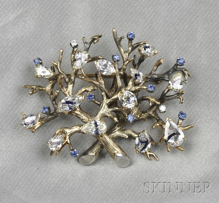 14kt Gold, Sapphire, and Diamond Brooch