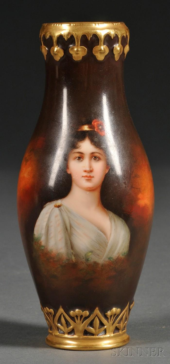 Small German Painted Porcelain Vase