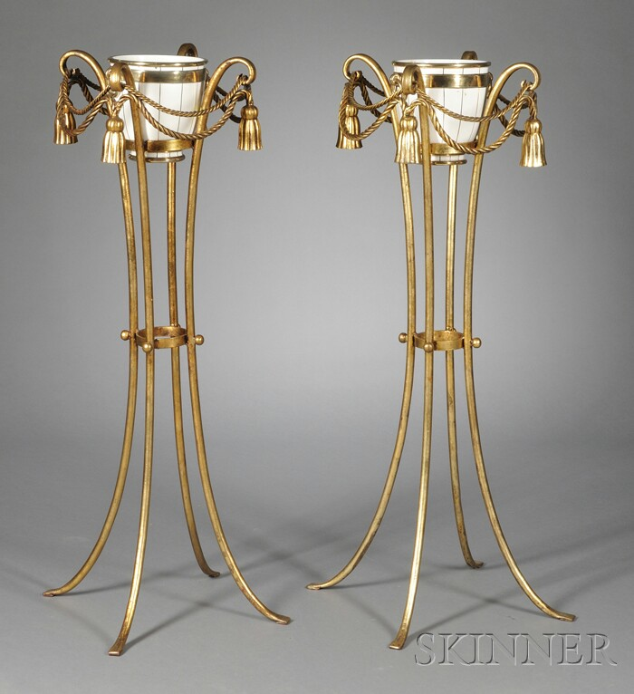 Pair of Porcelain Jardinieres on Gilt-metal Stands