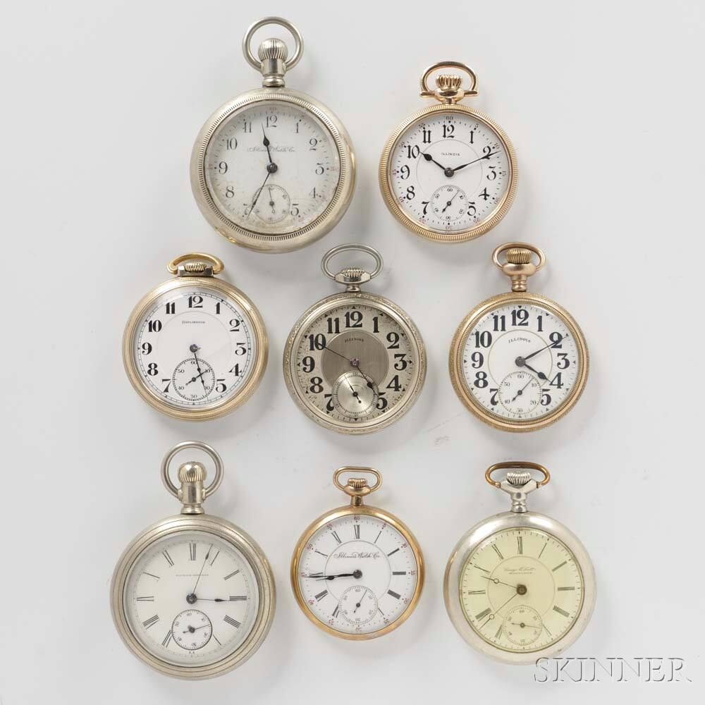 Eight Illinois Open-face Watches