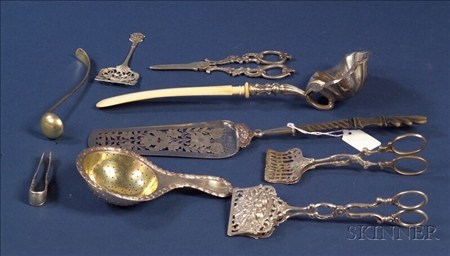 Nine European Silver Flatware Items