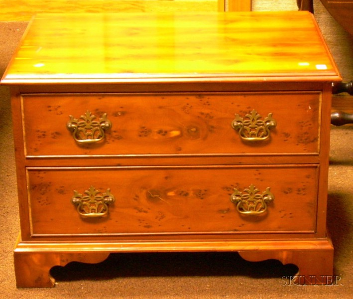 Georgian-style Low Cherry and Burl Veneer Two-Drawer Chest
