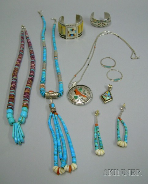Two Santa Domingo Pueblo Necklaces and a Pair of Matching Earrings, Two Zuni Bracelets, an Inlaid Sterling Silv...