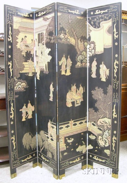 Chinese Coromandel Folding Floor Screen