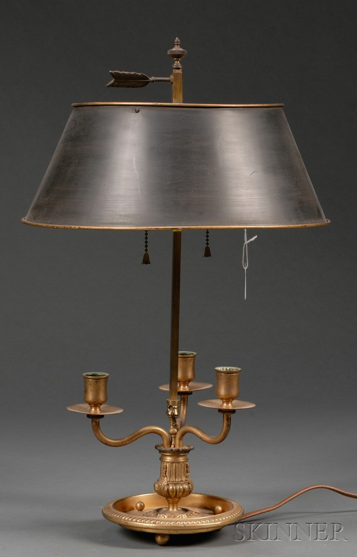 French Brass Three-light Bouillote Lamp