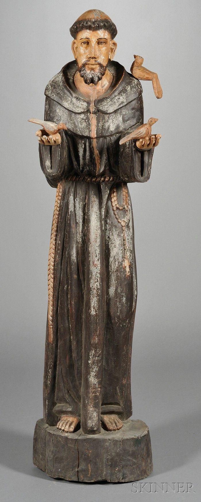 Spanish Colonial Style Carved and Painted Figure of St. Francis