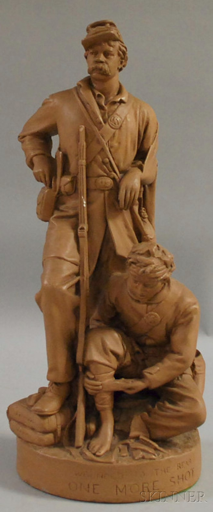 John Rogers Painted Plaster Figural Group Wounded to the Rear, One More Shot