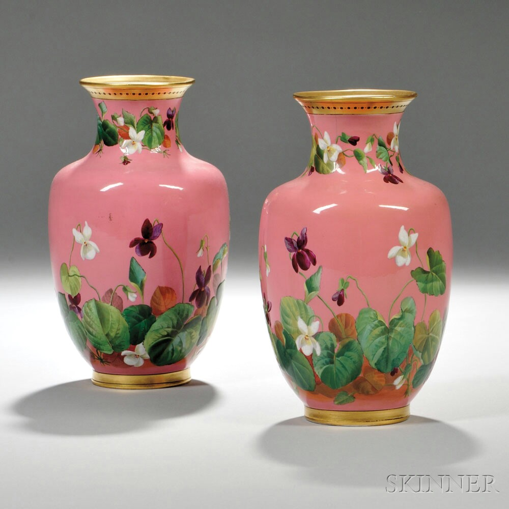 Pair of Hand-painted Floral-decorated Pink Ceramic Mintons Vases