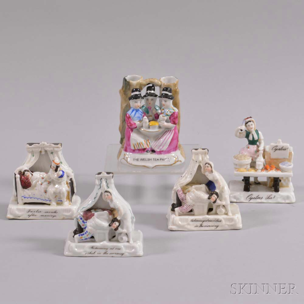 Five Staffordshire Ceramic Figural Groups