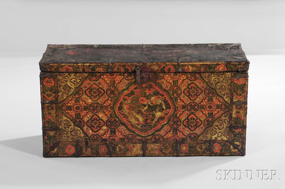 Gilded and Paint-decorated Wooden Trunk