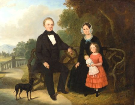 Anglo/American School, 19th Century    Portrait of a Family Seated Before a Panoramic Landscape.