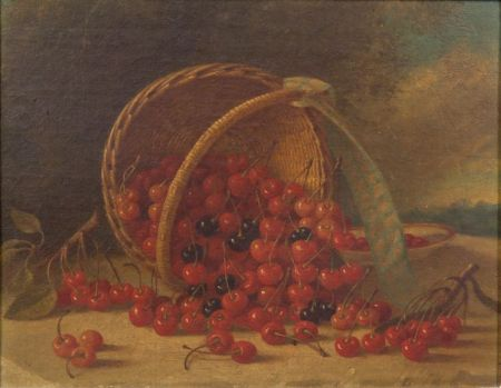 American School, 19th Century    Still Life with a Basket of Cherries