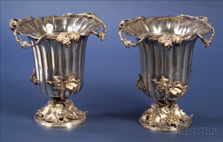 Pair of Elkington & Company Silver Plate Wine Coolers