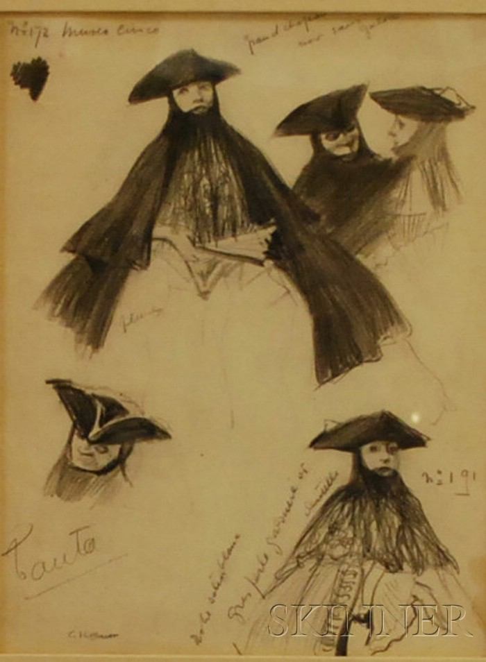 Charles Constantine Hoffbauer  (American, 1875-1957)      Lot of Two Operatic Costume Designs.