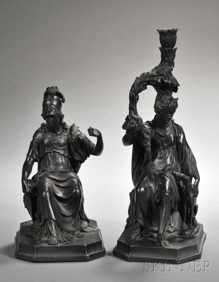 Pair of Wedgwood Black Basalt Figures