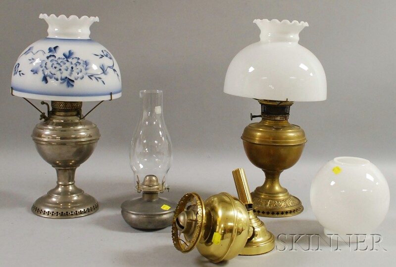 Twenty-two Mostly Late Victorian Small Oil Lamps and Four Metal Kerosene   Table Lamps