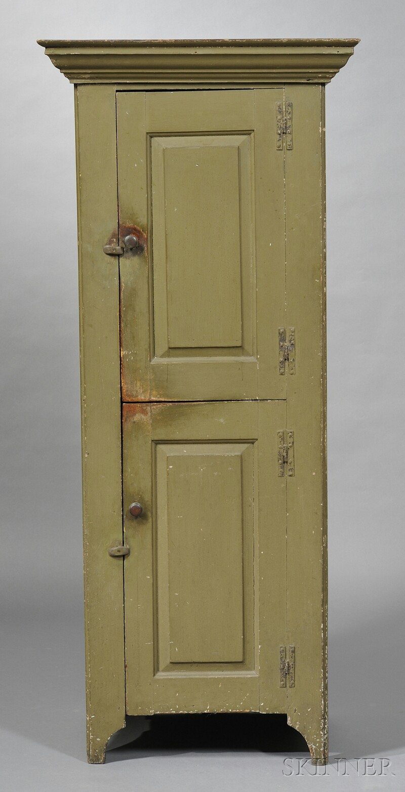 Diminutive Olive Green-painted Cupboard