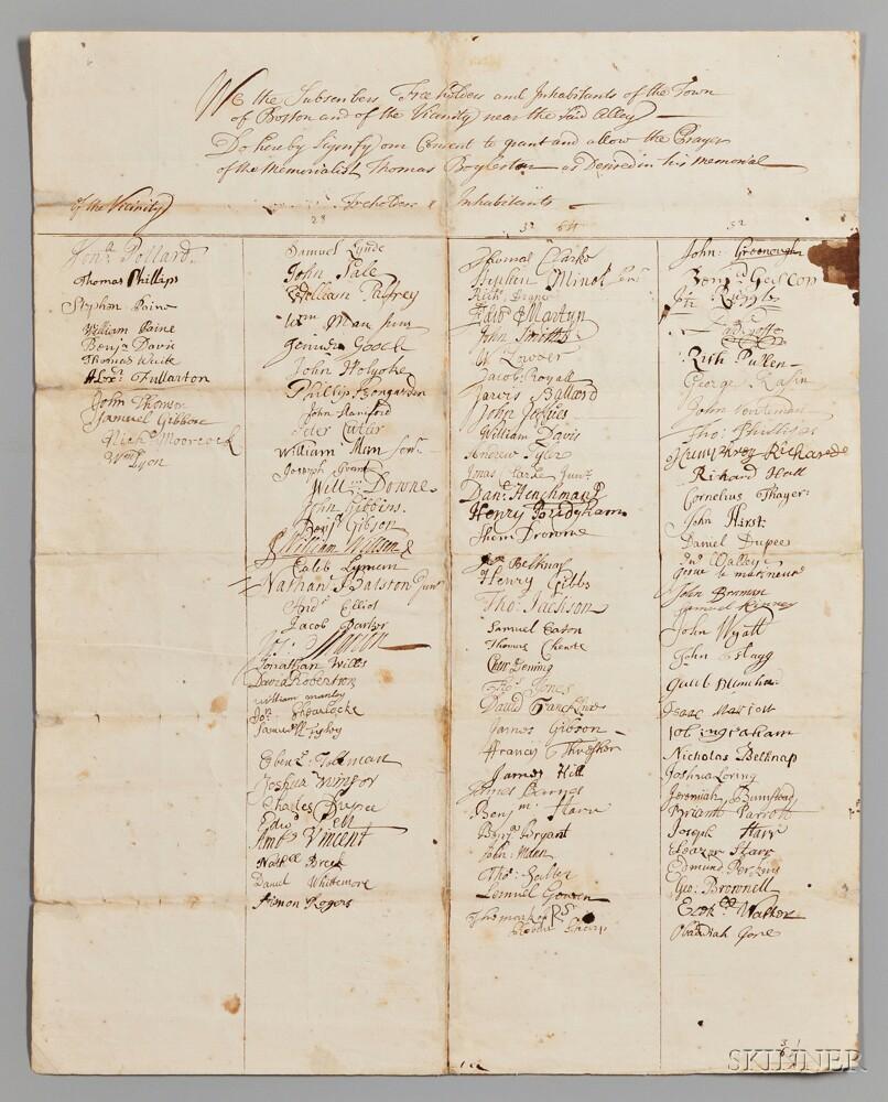 Early Boston, Massachusetts Documents: 1692 and 1771.