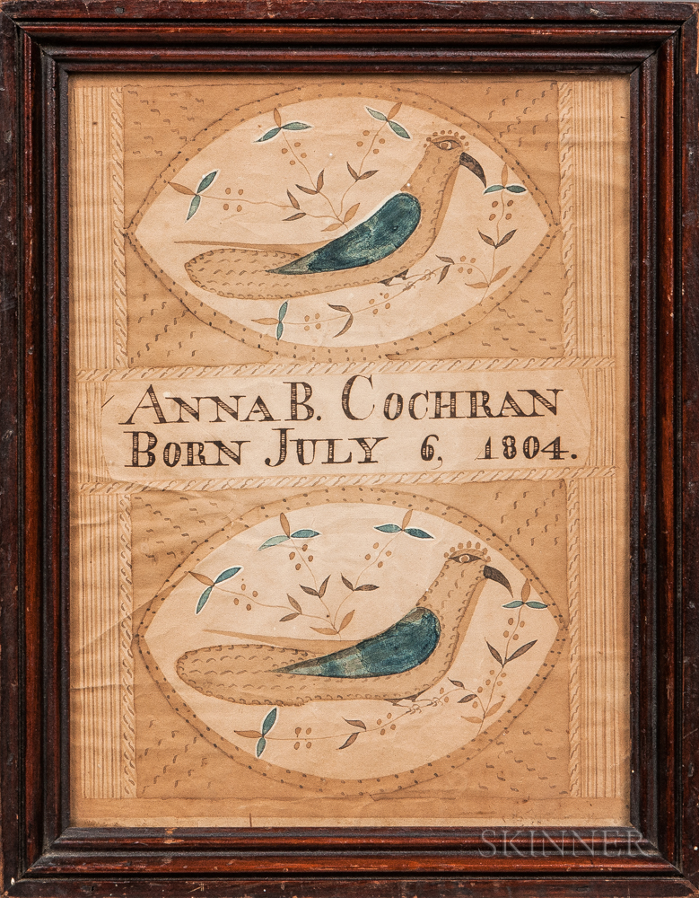 Attributed to Moses Connor Jr. (New Hampshire, act. 1800-1832)      Birth Record for Anna B. Cochran, Born July 6, 1804