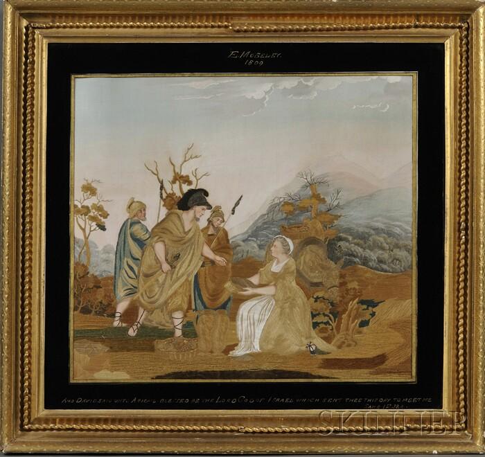 Framed Old Testament Biblical Needlework Picture