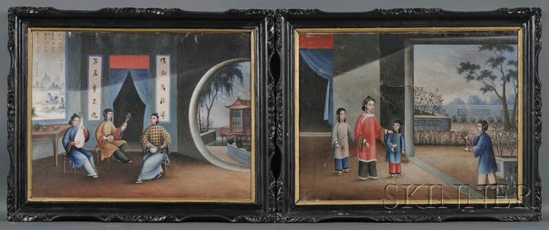 Chinese School, 19th Century      Pair of China Trade Genre Scenes.