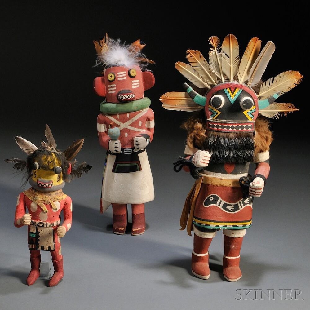 Three Hopi Polychrome Carved Wood Kachinas