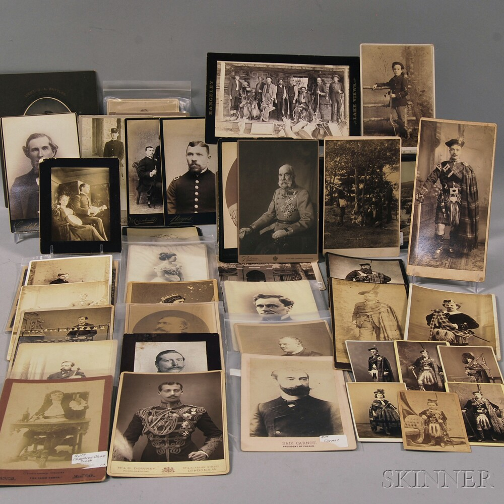 Group of Cabinet Cards, Depicting Military Figures, Musicians, Hunting Parties,   European Royalty, Scotsmen, and Places of Interest