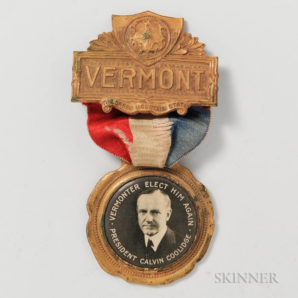 "Calvin Coolidge ""Vermonter"" Campaign Badge"