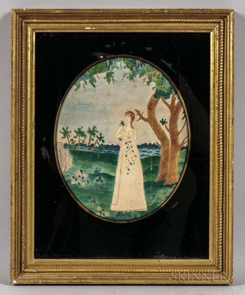 American School, Early 19th Century      Girl in a Pastoral Landscape